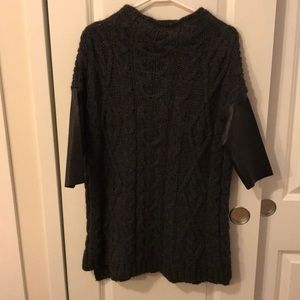 Zara black sweater with leather sleeves (M)